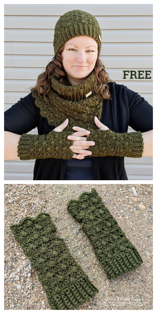 Amphitrite Slouch Hat Cowl Gloves Set Free Crochet Patterns