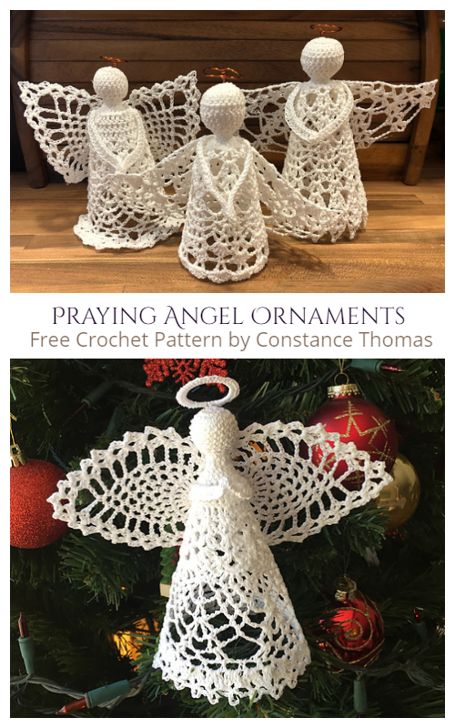 Christmas Praying Angel Ornaments Free Crochet Patterns