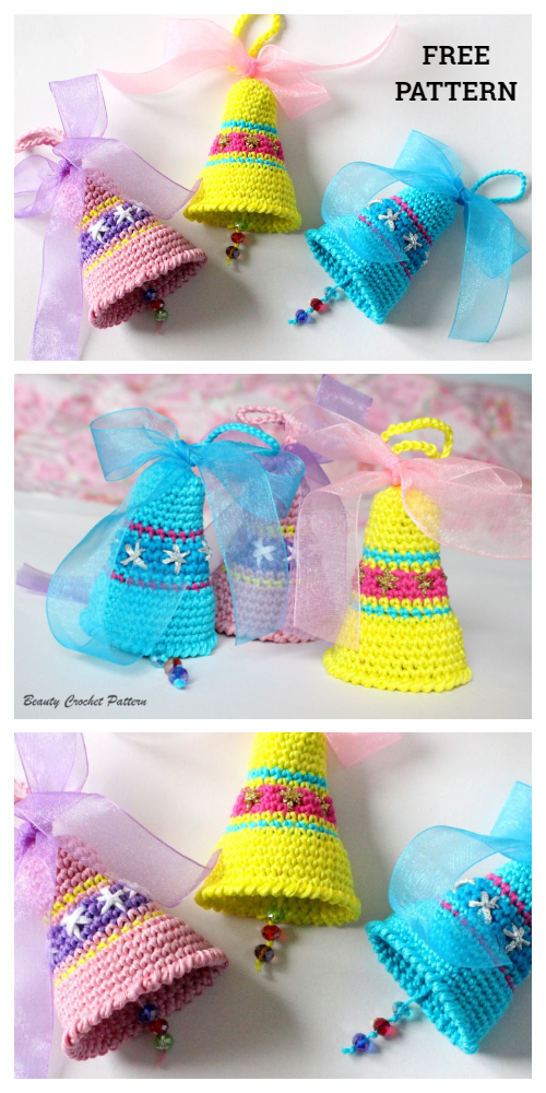 Christmas Bell Ornament Free Crochet Patterns