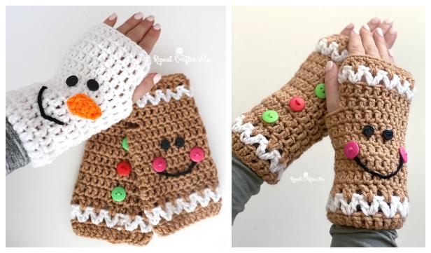 Christmas Fingerless Mittens Free Crochet Patterns & Paid