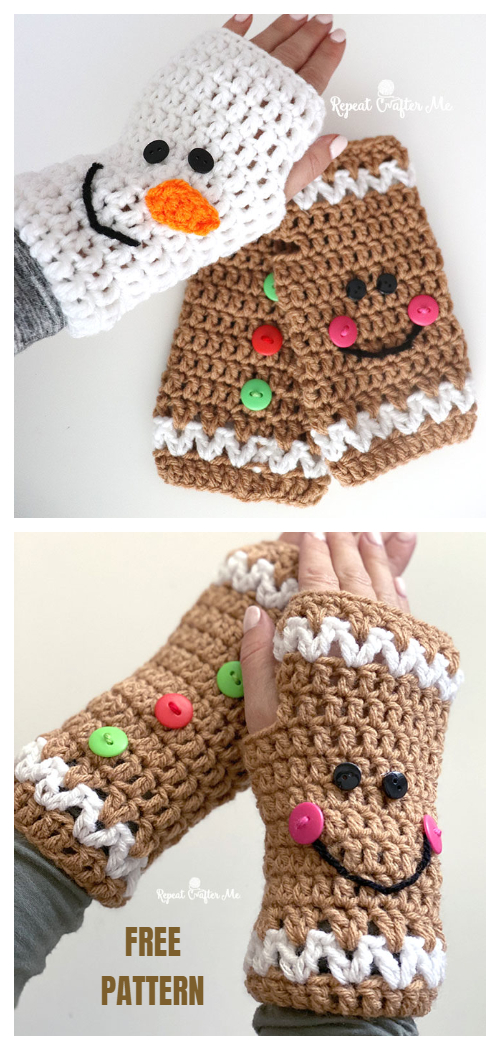 Christmas Fingerless Mittens Free Crochet Patterns
