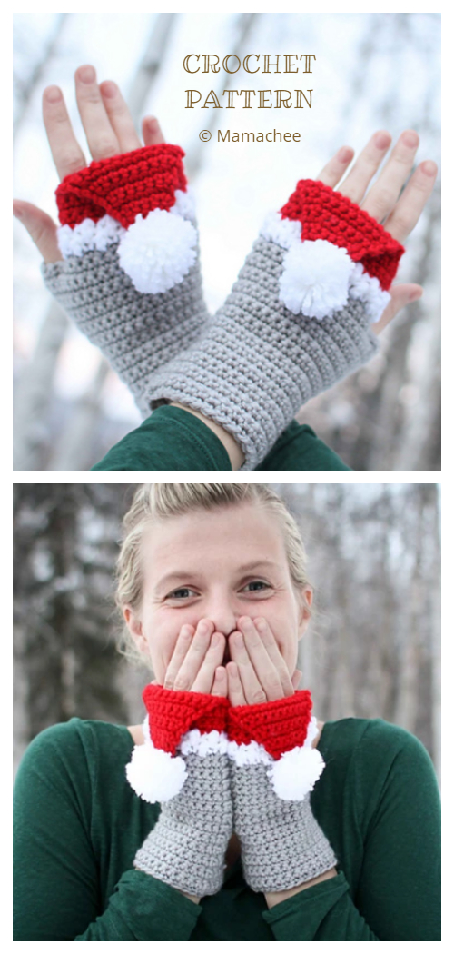 Christmas Santa Hat Mitts/ Fingerless Mittens Crochet Patterns