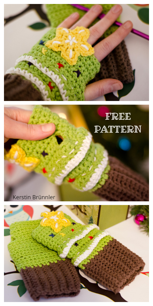 Christmas Tree Fingerless Mittens Free Crochet Patterns