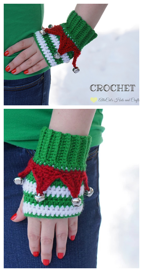 Christmas Elf Fingerless Mittens Crochet Patterns