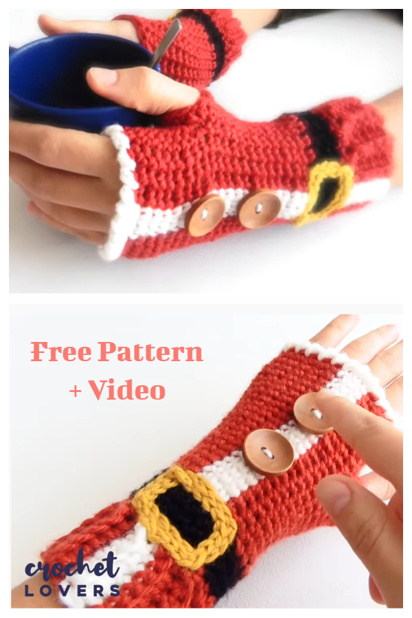 Christmas Santa Fingerless Mittens Free Crochet Pattern Video Tutorial