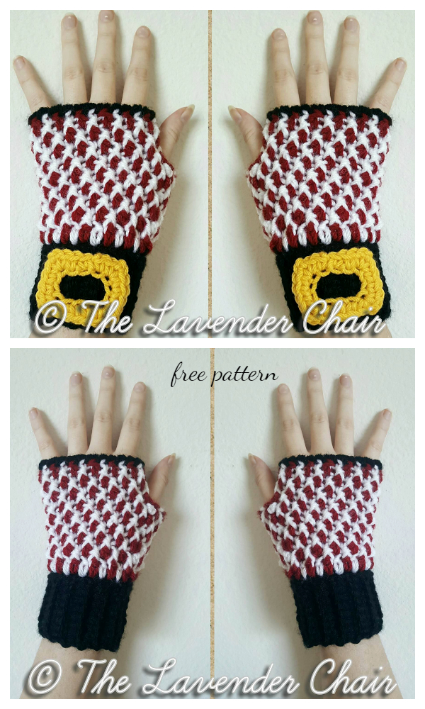 Christmas Peppermint Fingerless Gloves Free Crochet Patterns
