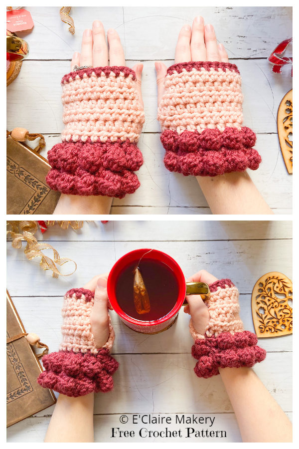 Christmas Bobble Fingerless Gloves Free Crochet Patterns