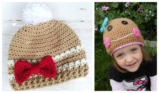 Modern Christmas Gingerbread Hat Free Crochet Patterns