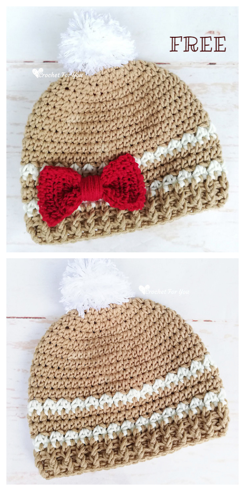 Modern Christmas Gingerbread Hat Free Crochet Patterns