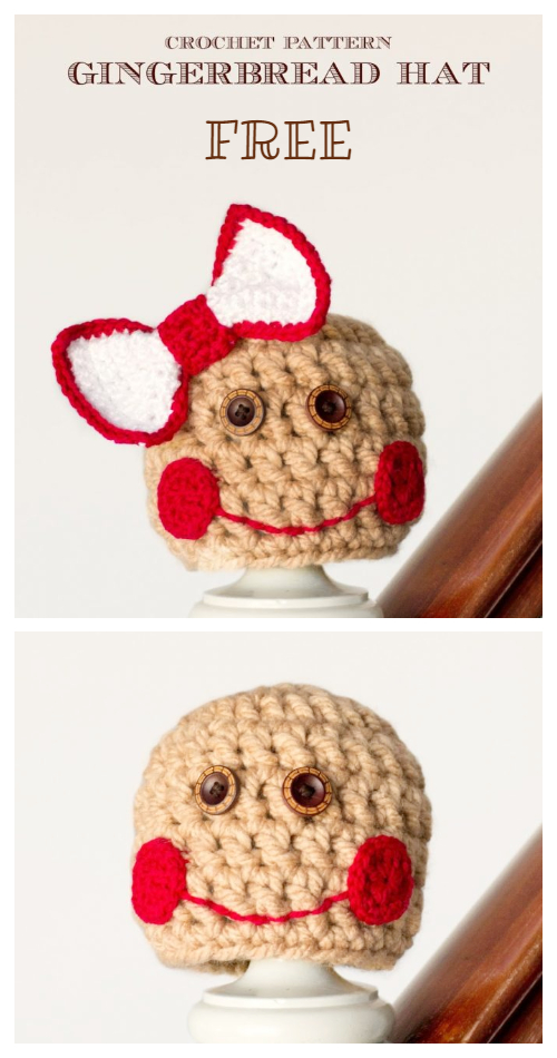 Baby Christmas Gingerbread Hat Free Crochet Patterns