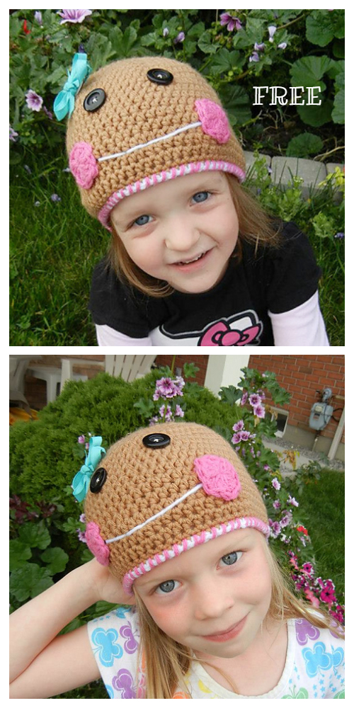 Christmas Gingerbread Cookie Hat Free Crochet Patterns