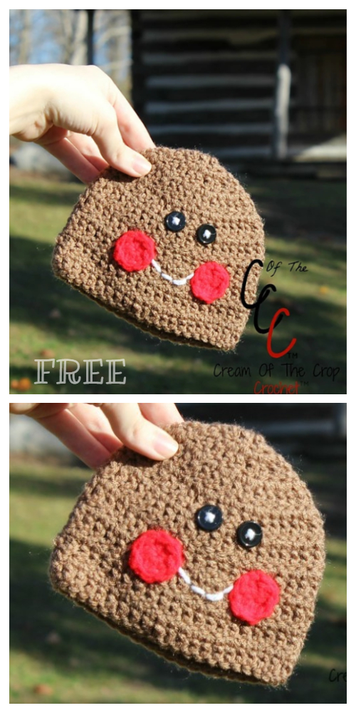 Newborn Christmas Gingerbread Hat Free Crochet Patterns