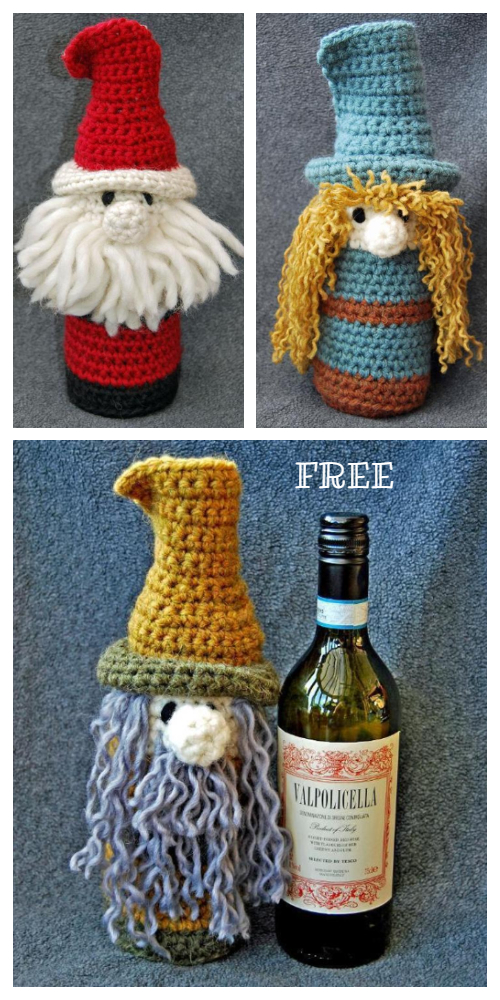 Christmas Scandinavian Gnome Bottle Buddy Cozy Free Crochet Patterns