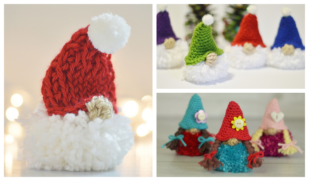 Christmas Puffball Gnome Ornament Free Crochet Patterns