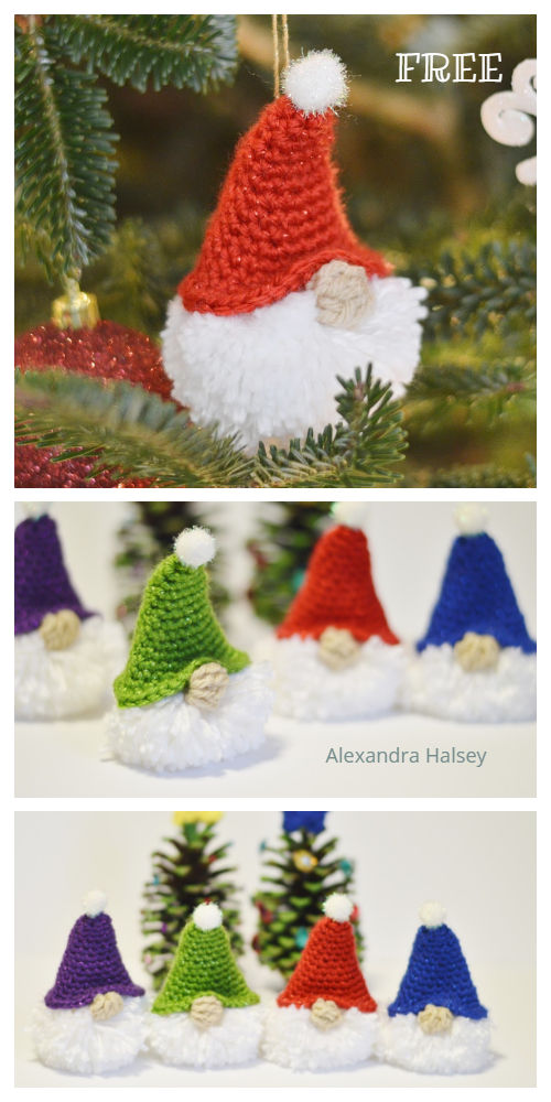 Christmas Tunisian Puffball Gnome Ornament Free Crochet Patterns