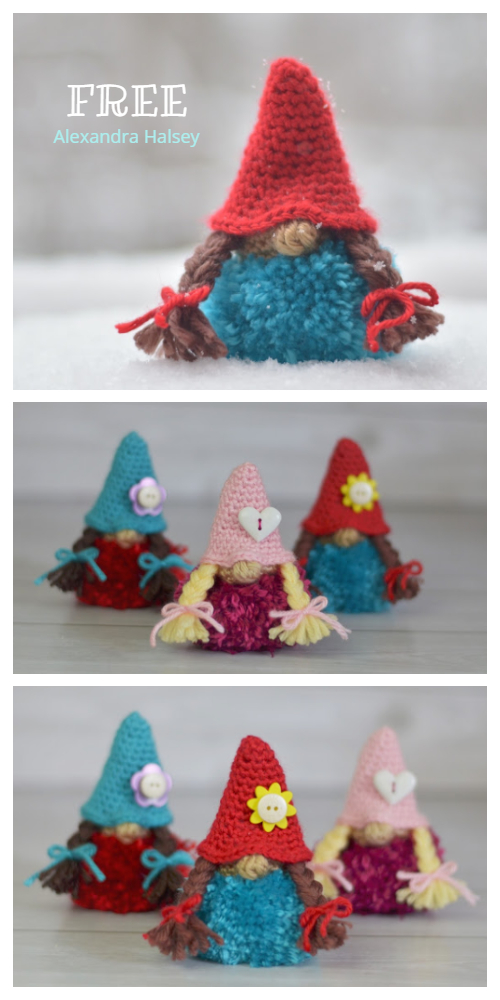 Christmas Puffball Gnome Girl Ornament Free Crochet Patterns