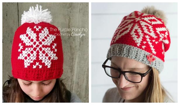 Knit Look Winter Snowflake Hat Free Crochet Patterns