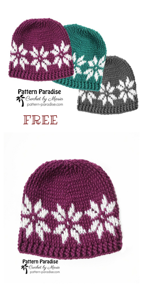 Knit Look Winter Snowflake Hat Free Crochet Patterns