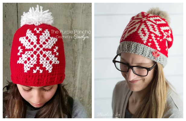 Knit Look Winter Chinook Toque Snowflake Hat Free Crochet Patterns