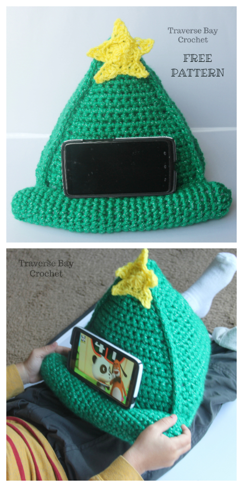 Christmas Tree Phone Stand Gifts Free Crochet Patterns