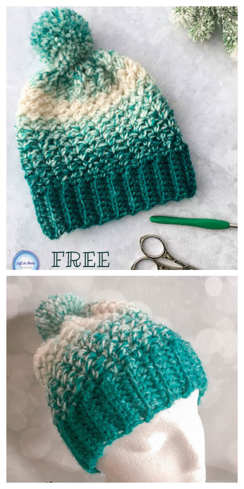 Winter Snowball Slouch Hat & Mitten Set Free Crochet Patterns