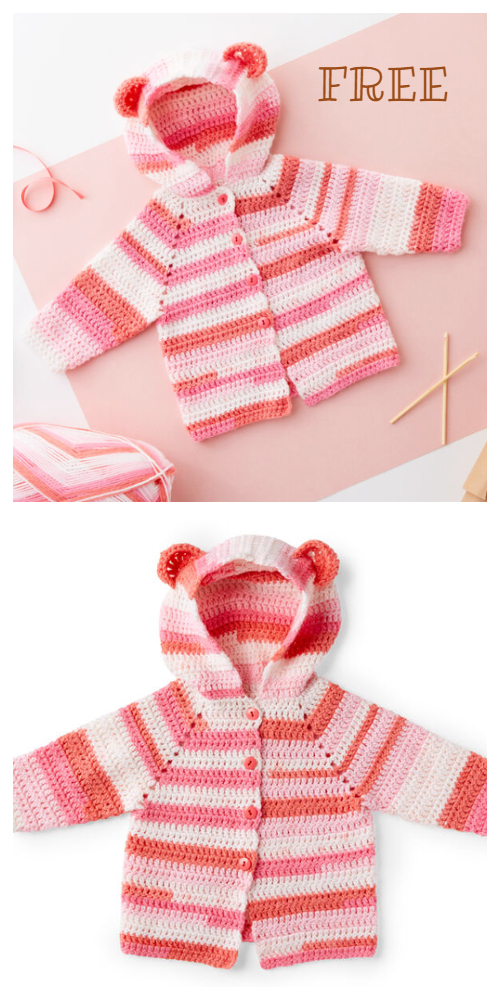 Bear Hooded Cardigan Free Crochet Pattern & Paid