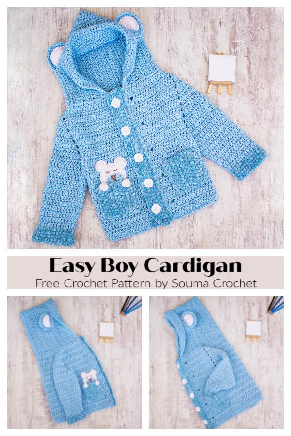 Easy Boy Cardigan Free Crochet Patterns