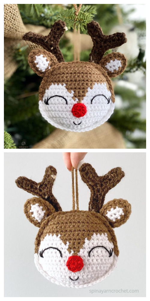 Cute Rudolph Ornament Free Crochet Pattern
