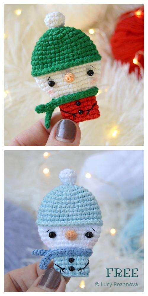 Snowman Brooch Free Crochet Patterns