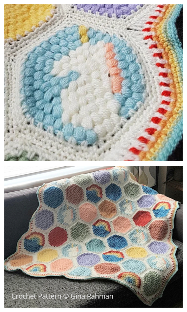 Hexipuff Unicorn Blanket Crochet Patterns