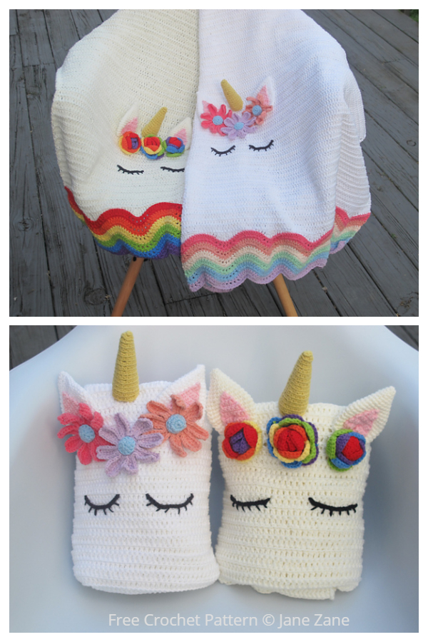 Easy Buttoned Unicorn Baby Blanket Free Crochet Patterns
