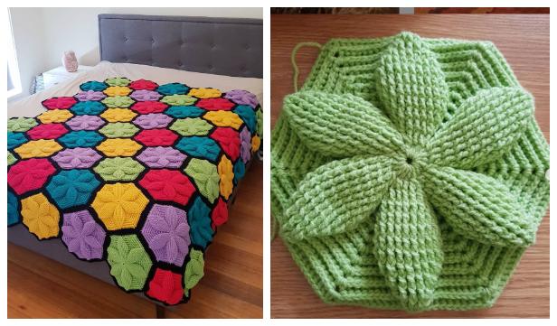 3D Flower Hexagon Blanket Free Crochet Pattern + Video