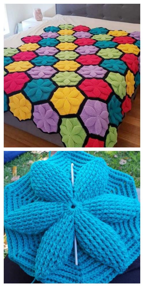 3D Цветочное Одеяло с Шестигранником Бесплатный Вязание Крючком + Видео