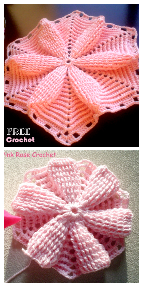 3D Flower Hexagon Blanket Free Crochet Pattern + Video