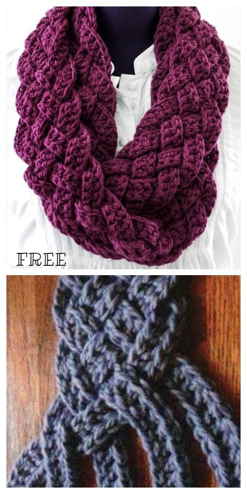 Crochet Braided Scarf Free Patterns - Crochet Braided Infinity Scarf Free Pattern