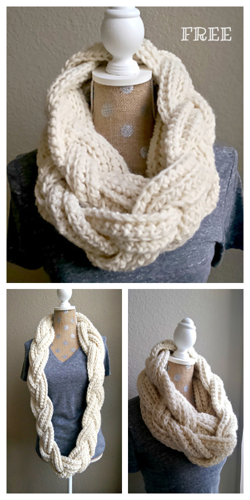 Crochet Braided Scarf Free Patterns - Crochet Braided Infinity Scarf Free Pattern