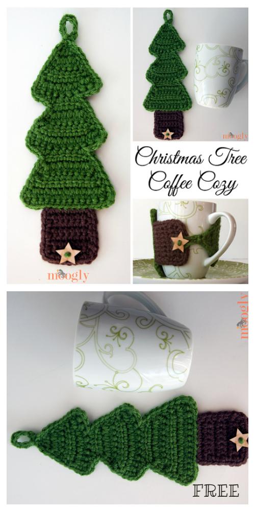 Christmas Tree Coffee Mug Cozy Free Crochet Patterns