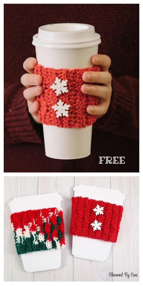 Christmas Coffee Mug Cozy Free Crochet Patterns