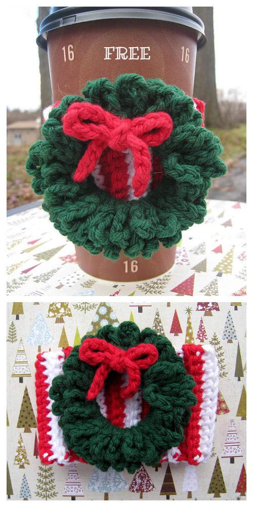 Christmas Wreath Coffee Mug Cozy Free Crochet Patterns