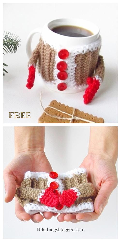 Christmas Hug Mug Coffee Mug Cozy Free Crochet Patterns