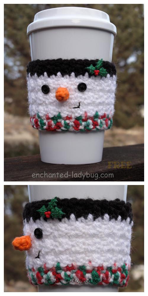 Snowman Christmas Coffee Mug Cozy Free Crochet Patterns