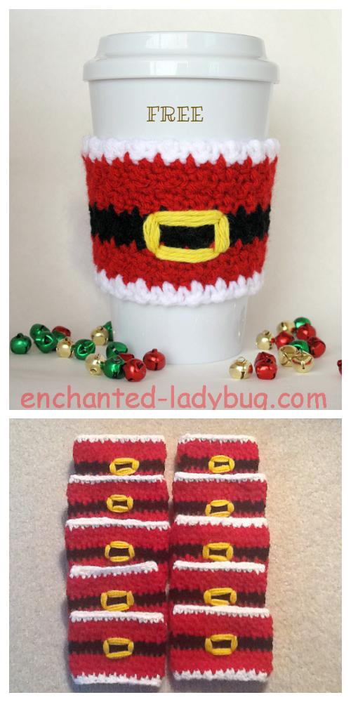 Christmas Santa Coffee Mug Cozy Free Crochet Patterns