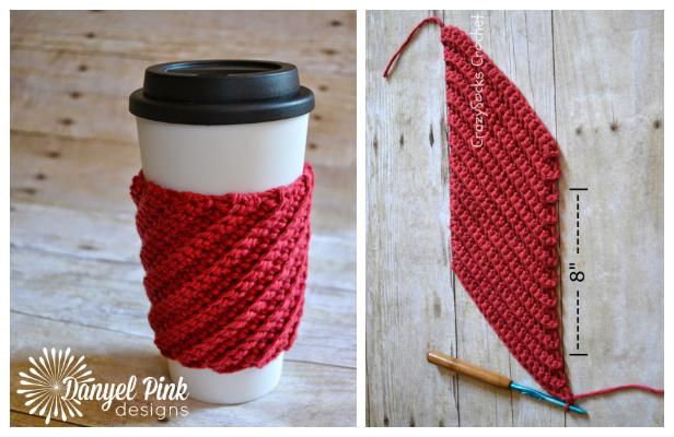Christmas Crooked Coffee Mug Cozy Free Crochet Patterns