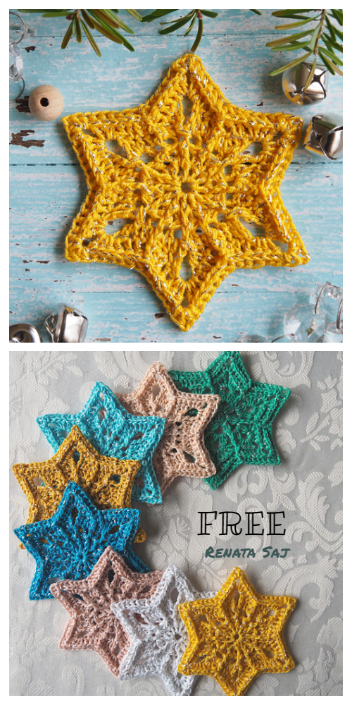 Christmas Star Snowflake Ornament Free Crochet Patterns