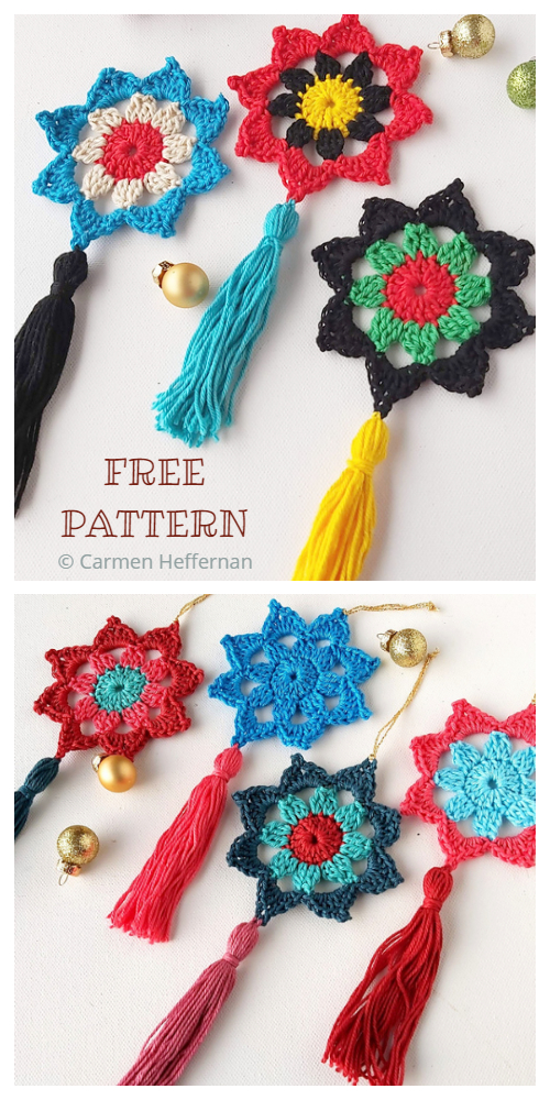 Christmas Tassel Star Ornament Free Crochet Patterns