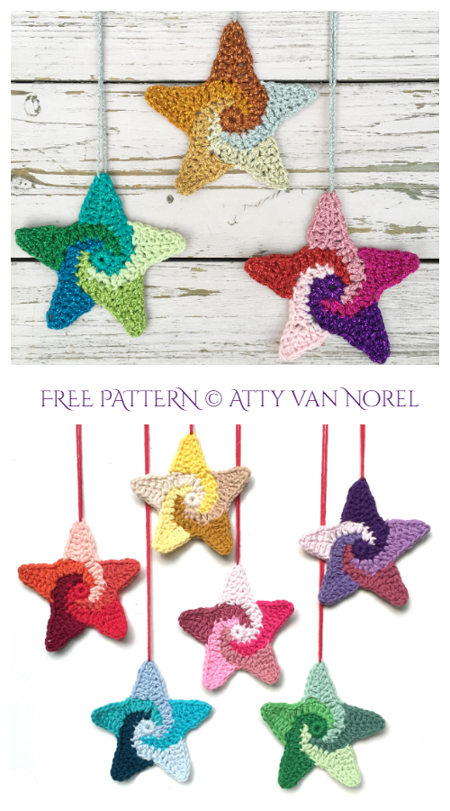 Christmas Swirly Stars Ornament Free Crochet Patterns