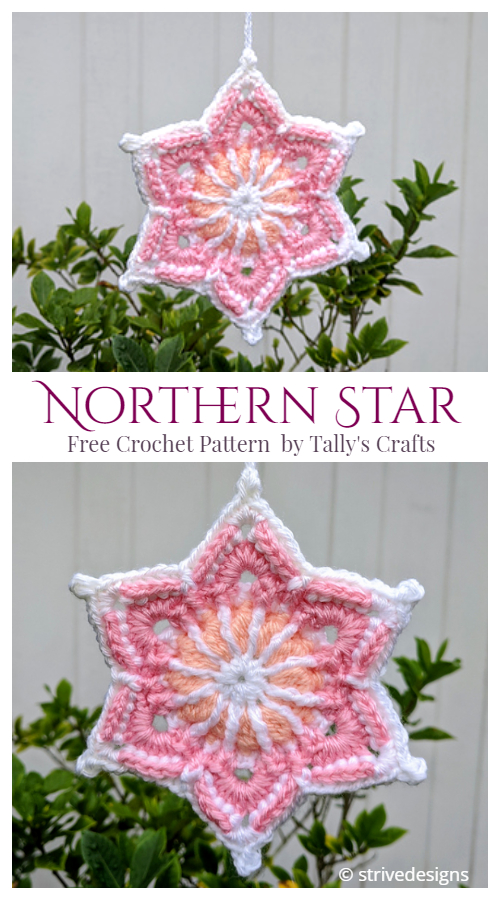 Christmas Northern Star Ornament Free Crochet Patterns