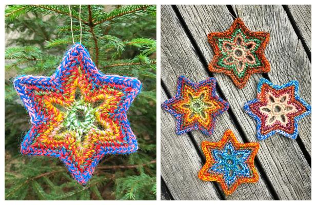 Christmas Star Snowflake Ornament Free Crochet Patterns