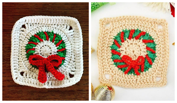 Christmas Granny Square Wreath Free Crochet Patterns