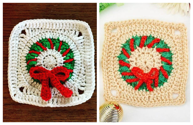Christmas Wreath Granny Square Free Crochet Patterns